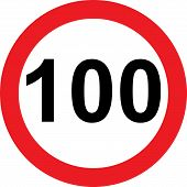 100 speed limitation road sign