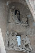 Sculptures On The Facade Of Sagrada Familia Cathedral, Barcelona, Spain.
