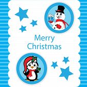 Christmas Vector-Blue Christmas With A Peguin And Snowman