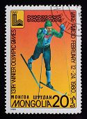 Post Stamp. Winter Olympic Games. Skis