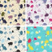 seamless brush stroke pattern set
