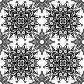 Black and white hand drawn vintage stars seamless pattern