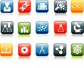 set of modern square science icons