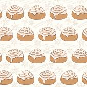 Seamless pattern with cinnamon rolls and spice
