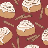 Seamless pattern with cinnamon rolls and sticks of cinnamon