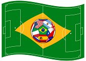 Football Field Looks Like Brazil Flag With Ball