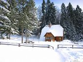 Scenery of small wood chalet over snow