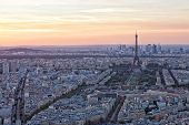 View of the Eiffel Tower on a sunset Paris
