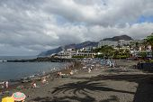 Arena Beach In Cloudy Day, Tyenerife, Canary Islands, Spain.