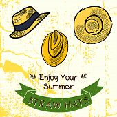 foto of panama hat  - Set of hand drawn sketchy straw hats - JPG