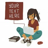 stock photo of post-teen  - The vector illustration of young cartoon girl writing message on her mobile phone for ui - JPG