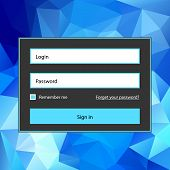Polygonal blue login form.