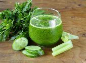 picture of celery  - fresh green juice from celery - JPG
