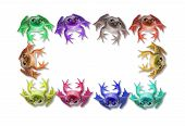 Ten Colorful Frogs Form A Frame