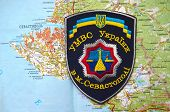 Kiev,Ukraine.JAN 10.Illustrative editorial.Chevron of Ukrainian Police in Sevastopol,Crimea. Former Ukraine.At present time Russia.With map of Sevastopol .At January 10,2015 in Kiev, Ukraine