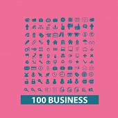 100 business icons, signs, silhouettes set, vector