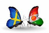 Two Butterflies With Flags On Wings As Symbol Of Relations Sweden And Niger