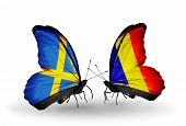Two Butterflies With Flags On Wings As Symbol Of Relations Sweden And Chad, Romania