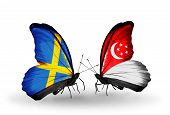 Two Butterflies With Flags On Wings As Symbol Of Relations Sweden And Singapore