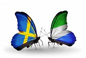 Two Butterflies With Flags On Wings As Symbol Of Relations Sweden And Sierra Leone