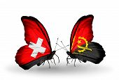Two Butterflies With Flags On Wings As Symbol Of Relations Switzerland And Angola