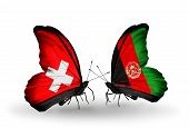 Two Butterflies With Flags On Wings As Symbol Of Relations Switzerland And Afghanistan