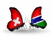 Two Butterflies With Flags On Wings As Symbol Of Relations Switzerland And Gambia