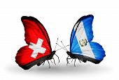 Two Butterflies With Flags On Wings As Symbol Of Relations Switzerland And Guatemala