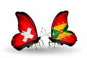 Two Butterflies With Flags On Wings As Symbol Of Relations Switzerland And Grenada