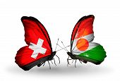 Two Butterflies With Flags On Wings As Symbol Of Relations Switzerland And Niger