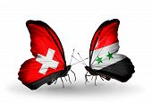 Two Butterflies With Flags On Wings As Symbol Of Relations Switzerland And Syria