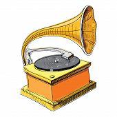 foto of hooters  - Vintage gramophone isolated on white - JPG