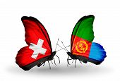 Two Butterflies With Flags On Wings As Symbol Of Relations Switzerland And Eritrea
