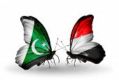 Two Butterflies With Flags On Wings As Symbol Of Relations Pakistan And Yemen