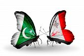 Two Butterflies With Flags On Wings As Symbol Of Relations Pakistan And Malta