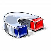Glossy polished magnet sketch vector illustration