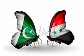 Two Butterflies With Flags On Wings As Symbol Of Relations Pakistan And Syria