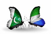 Two Butterflies With Flags On Wings As Symbol Of Relations Pakistan And Sierra Leone