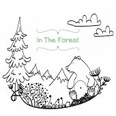 stock photo of cute bears  - Invitation or greeting card template with cute hand drawn bear sitting in the middle of forest meadow with snowy mountains on the white background - JPG