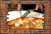Broken Brick Wall And View To Fork Knife And Tasty Pizza
