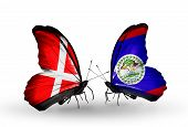 Two Butterflies With Flags On Wings As Symbol Of Relations Denmark And Belize