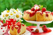 Strawberry Cake On Table In The Garden