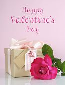 Beautiful Classic Kraft Paper Cardboard Gift Box With Pale Pink Ribbon And Rose, With Happy Valentin