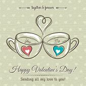 Valentine Card With Two Cup Of Hot Drink And Wishes Text,  Vector