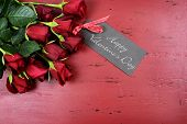 Happy Valentines Day Background With Red Roses With Greeting Card On Distressed Vintage Recycled Woo
