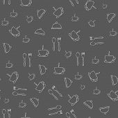 Seamless background with hand drawn hotel objects