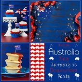 Happy Australia Day Deisgner Pack Collage With Three Images Of Party Food And Background With Sample