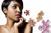 Closeup Portrait Of A Black Woman With An Ideal Skin And Bluch Puzzle