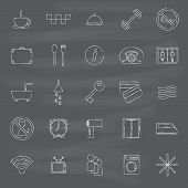 Set of hand drawn hotel icons