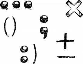 picture of punctuation marks  - punctuation marks period comma brackets plus minus smile - JPG
